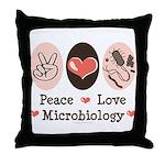 Peace Love Microbiology Throw Pillow