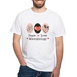 Peace Love Microbiology White T-Shirt