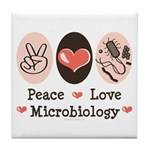 Peace Love Microbiology Tile Coaster