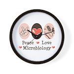 Peace Love Microbiology Wall Clock