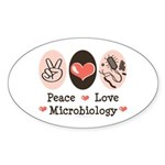 Peace Love Microbiology Oval Sticker (50 pk)