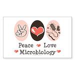 Peace Love Microbiology Rectangle Sticker 50 pk)
