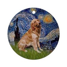 Starry Night Golden Retreiver Keepsake (Round)