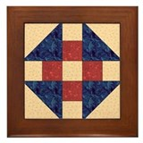 Monkey Wrench Quilt Block Framed Tile
