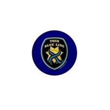 Thin Blue Line Ribbon Shield Mini Button