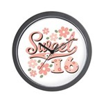 Pretty Pink Sweet 16 Wall Clock