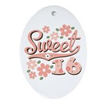 Pretty Pink Sweet 16 Oval Ornament