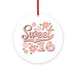 Pretty Pink Sweet 16 Ornament (Round)