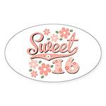 Pretty Pink Sweet 16 Oval Sticker