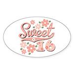 Pretty Pink Sweet 16 Oval Sticker (10 pk)