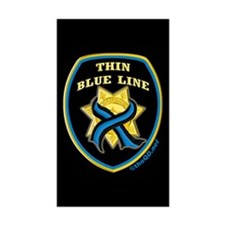 Thin Blue Line Ribbon Shield Rectangle Sticker 10