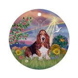Cloud Angel and Basset Hound Keepsake (Round)