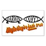 Christian/Darwin Fish Rectangle Sticker