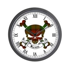 Kerr Tartan Skull Wall Clock
