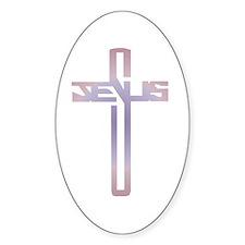 Jesus Cross Oval Decal