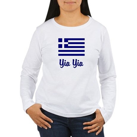 Yia Yia with Greek Flag Women's Long Sleeve T-Shir