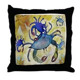 Sandy Crab Throw Pillow