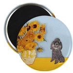 Sunflowers / Poodle (Silver) Magnet