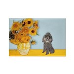 Sunflowers / Poodle (Silver) Rectangle Magnet (10