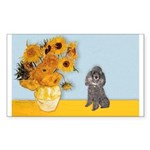 Sunflowers / Poodle (Silver) Sticker (Rectangle)