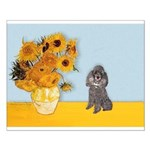 Sunflowers / Poodle (Silver) Small Poster