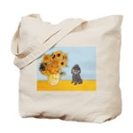 Sunflowers / Poodle (Silver) Tote Bag