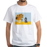 Sunflowers / Poodle (Silver) White T-Shirt