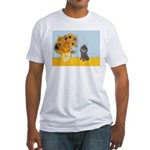 Sunflowers / Poodle (Silver) Fitted T-Shirt