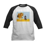 Sunflowers / Poodle (Silver) Kids Baseball Jersey