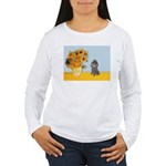 Sunflowers / Poodle (Silver) Women's Long Sleeve T