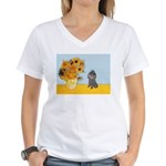 Sunflowers / Poodle (Silver) Women's V-Neck T-Shir