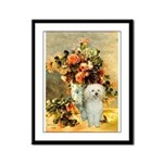 Vase / Poodle (White) Framed Panel Print
