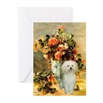 Vase / Poodle (White) Greeting Cards (Pk of 10)