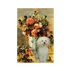 Vase / Poodle (White) Rectangle Magnet