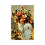 Vase / Poodle (White) Rectangle Magnet (100 pack)