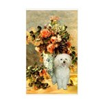 Vase / Poodle (White) Sticker (Rectangle)