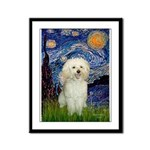 Starry / Poodle (White) Framed Panel Print