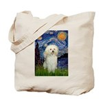 Starry / Poodle (White) Tote Bag