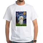 Starry / Poodle (White) White T-Shirt