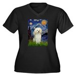 Starry / Poodle (White) Women's Plus Size V-Neck D