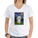 Starry / Poodle (White) Women's V-Neck T-Shirt