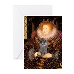 Elizabeth / Poodle (Silver) Greeting Cards (Pk of