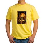 Elizabeth / Poodle (Silver) Yellow T-Shirt