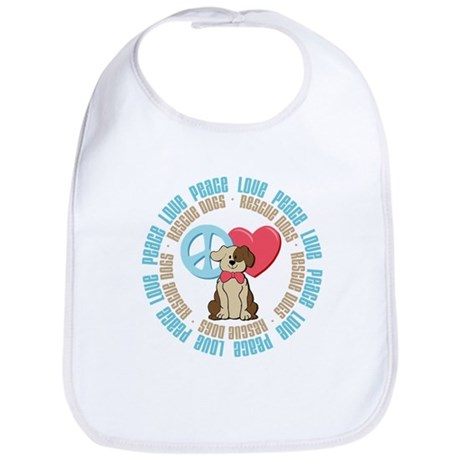 Peace Love Rescue Dogs Bib