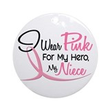 Pink For My Hero 3 NIECE Ornament (Round)