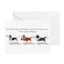 Three Cardigan Corgis Greeting Cards (Pk of 10