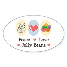 Peace Love Jelly Beans Oval Sticker (10 pk)