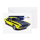 Dodge Challenger Yellow Car Greeting Card