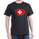 Oval Swiss flag Black T-Shirt