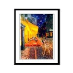 Cafe / Rhodesian Ridgeback Framed Panel Print